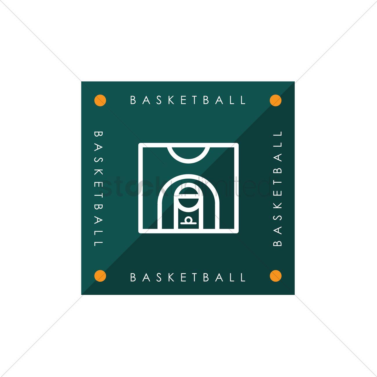 1300x1300 Basketball Half Court Vector Image