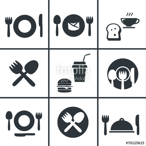 500x500 Food Center, Food Court,fork And Spoon Icon Set Stock Image And