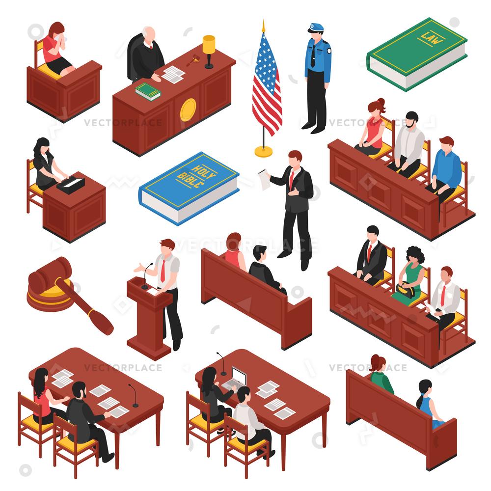 1000x1000 Law Order Isometric Set Jury Court Vector Illustration 13671