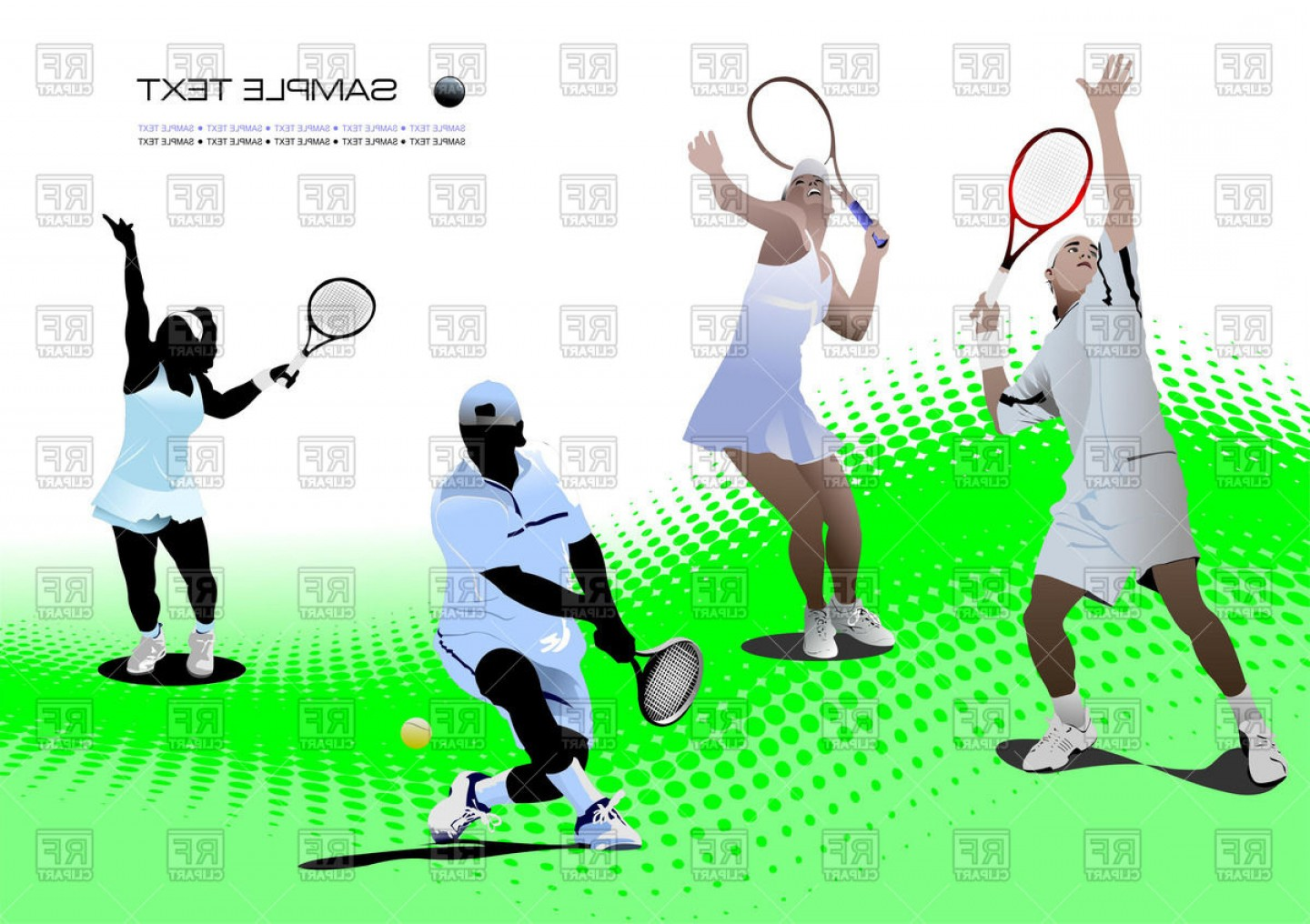 1440x1016 Tennis Players On Tennis Court Vector Clipart Rongholland