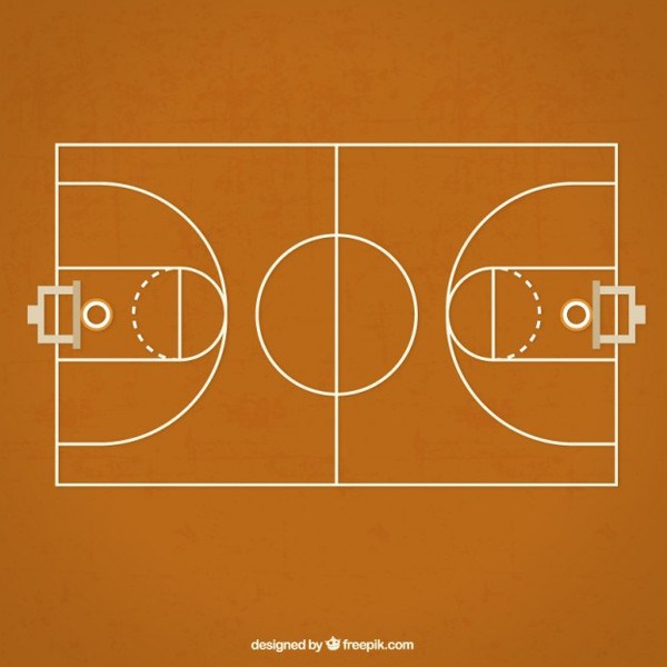 600x600 Basketball Court Free Vector 123freevectors
