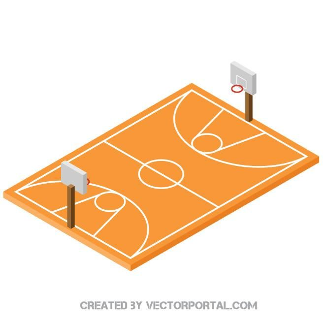 660x660 Basketball Court 3d Vector Image Sports Free Vectors In 2018