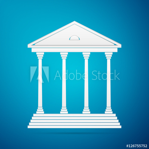 500x500 Courthouse Flat Icon On Blue Background. Vector Illustration