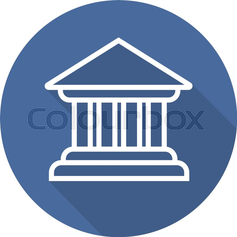 800x800 Bank Building Flat Linear Long Shadow Icon. Courthouse. Vector
