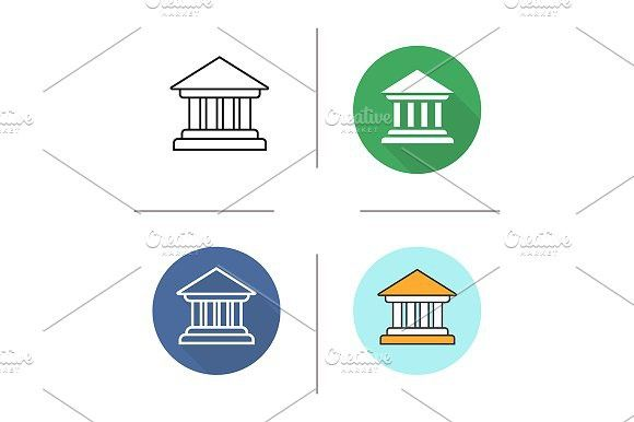 580x386 Courthouse. 4 Icons. Vector. Commercial