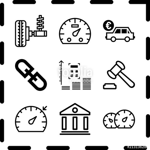 500x500 Simple 9 Icon Set Of Finance Related Hyperlink, Wheel, Dashboard