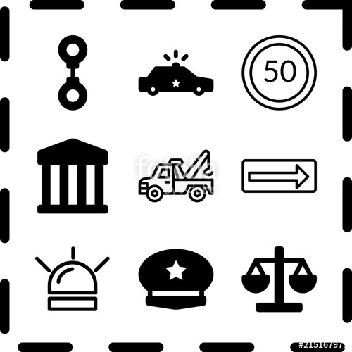 500x500 Simple 9 Icon Set Of Law Related Turn Right, Handcuff, Tow Truck
