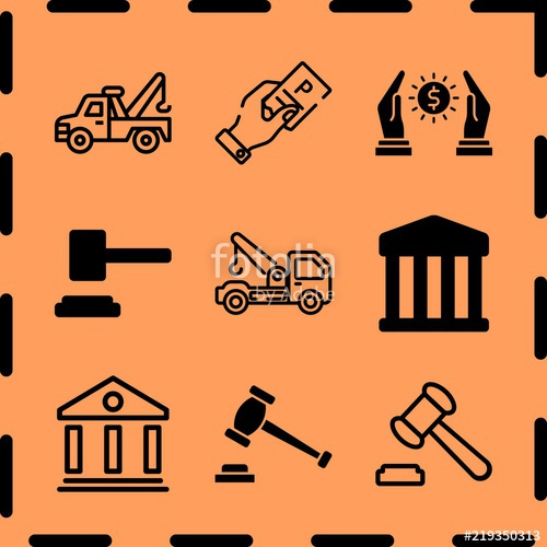 500x500 Simple 9 Icon Set Of Legal Related Tow Truck, Courthouse, Loan And