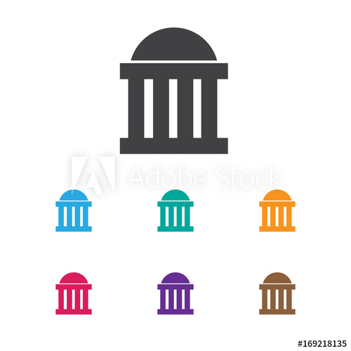 500x500 Vector Illustration Of Education Symbol On Courthouse Icon