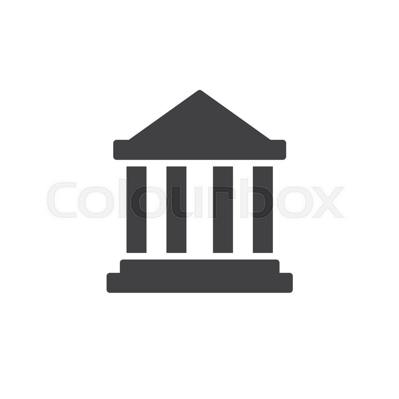 800x800 Bank Building Icon Vector, Filled Flat Sign, Solid Pictogram