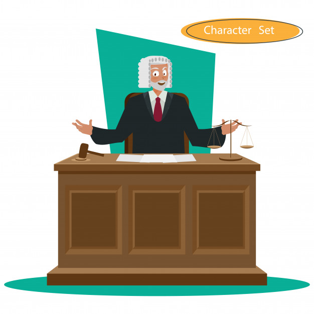 626x626 Character Design With Hammer In Courthouse Vector Premium Download