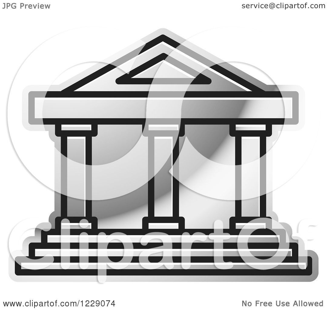 1080x1024 Clipart Of A Silver Court House Building Icon Royalty Free Vector