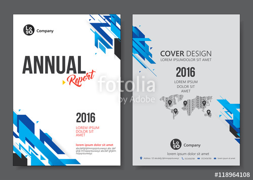 500x357 Cover Design Templates Layout With Blue Tone. Vector Annual Report