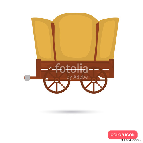 500x500 Covered Wagon Color Flat Icon For Web And Mobile Design Stock