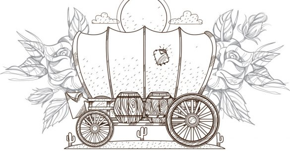 585x329 Glamorous Covered Wagon Outline Vector Art Ancient Western Icon