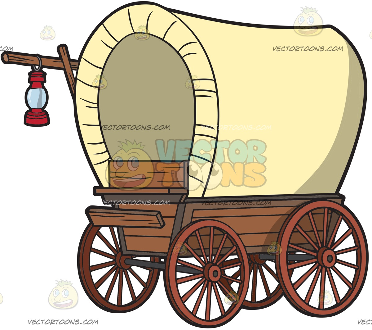 1200x1063 A Vintage Covered Wagon With Lamp Clipart By Vector Toons
