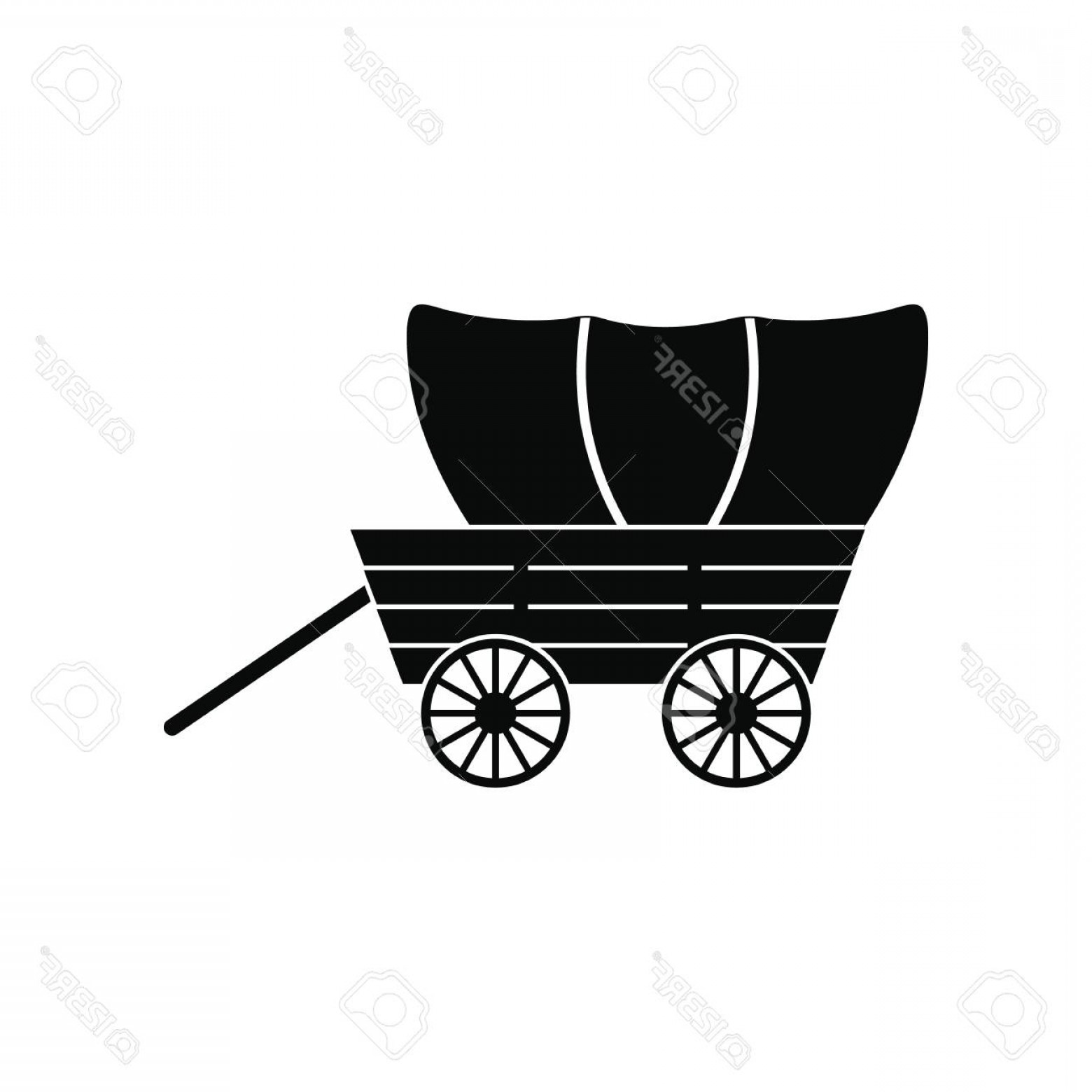 1560x1560 Photostock Vector Western Covered Wagon Black Simple Icon Isolated