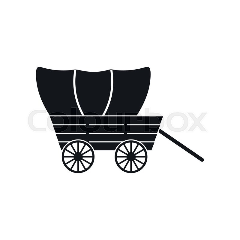 800x800 Western Covered Wagon Black Simple Icon Isolated On White