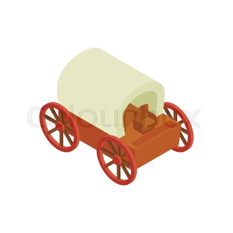 800x800 Western Covered Wagon Isometric 3d Icon On A White Background