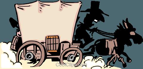480x232 Cartoon Covered Wagon Royalty Free Vector Clip Art Illustration