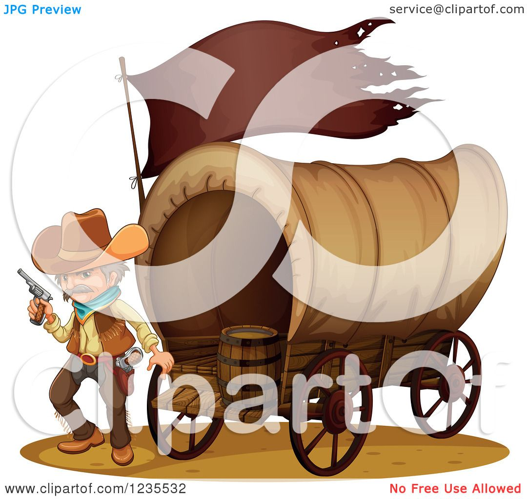 1080x1024 Clipart Of A Cowboy With A Pistol By A Covered Wagon