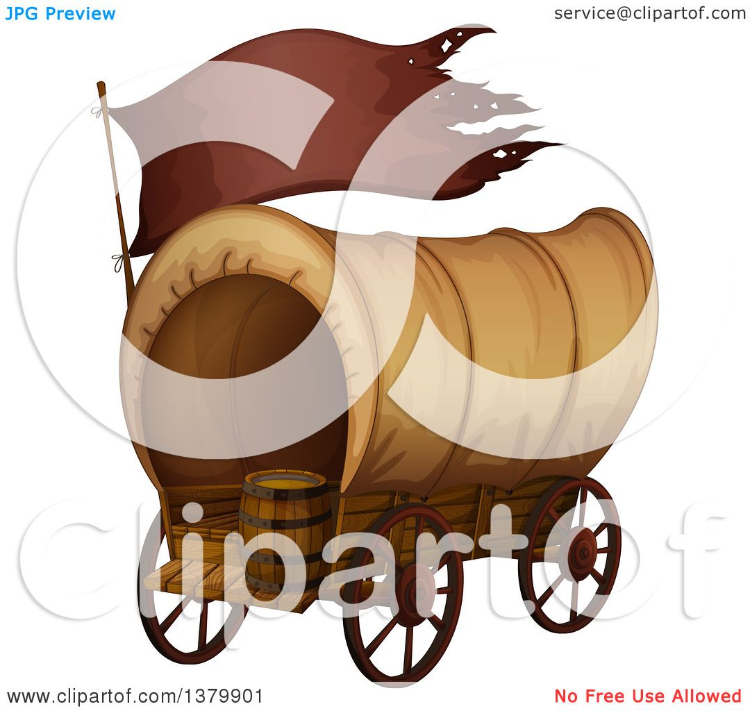 1080x1024 Clipart Of A Historical Covered Wagon With A Barrel And Flag