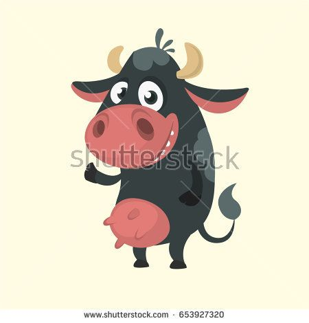 450x470 Cartoon Cute Black Cow Standing And Presenting. Vector