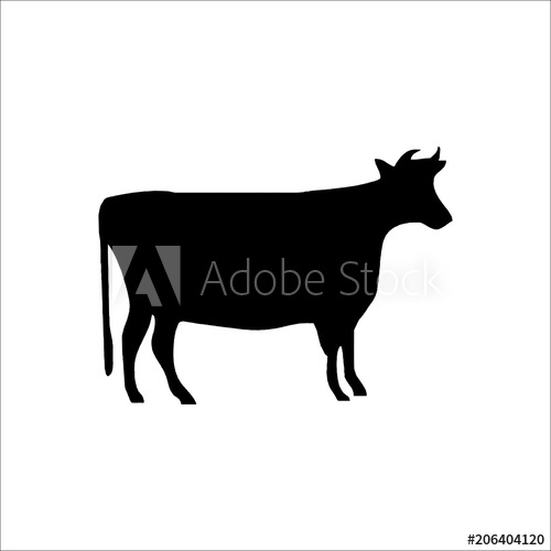 500x500 Cow Icon. Vector Illustration