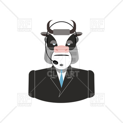 400x400 Farm Call Center, Cow With Headset, Customer Service Icon Vector