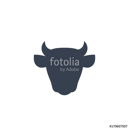 500x500 Cattle Icon, Cow Head Front View, Cattle Farm Logo On White Stock