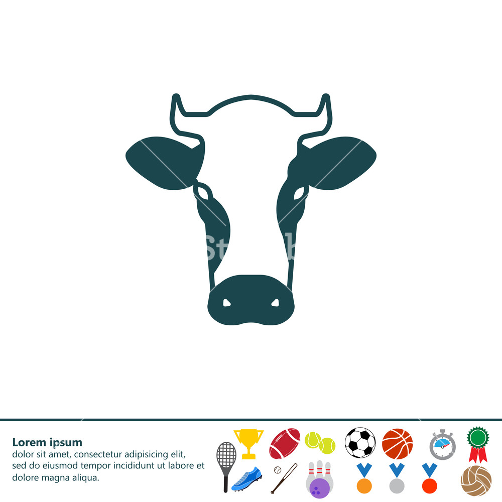 1000x1000 Cow Icon. Vector Illustration Royalty Free Stock Image