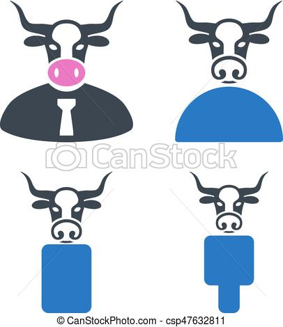 406x470 Cow Boss Flat Icons. Cow Boss Flat Vector Icon Set. An... Vector