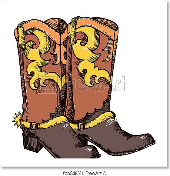 561x581 Free Art Print Of Cowboy Boots .vector Graphic Image. Cowboy Boots