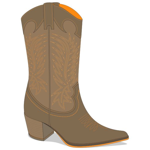 600x600 Texas Cowboy Leather Boot Vector