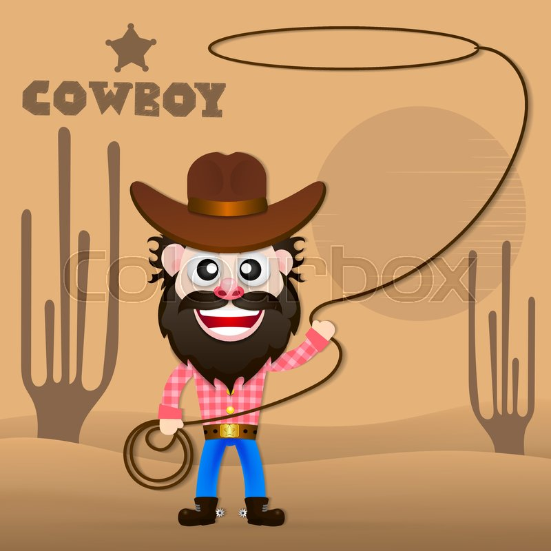 800x800 Illustration Of A Cowboy With Lasso. Cheerful Cowboy Twists Rope