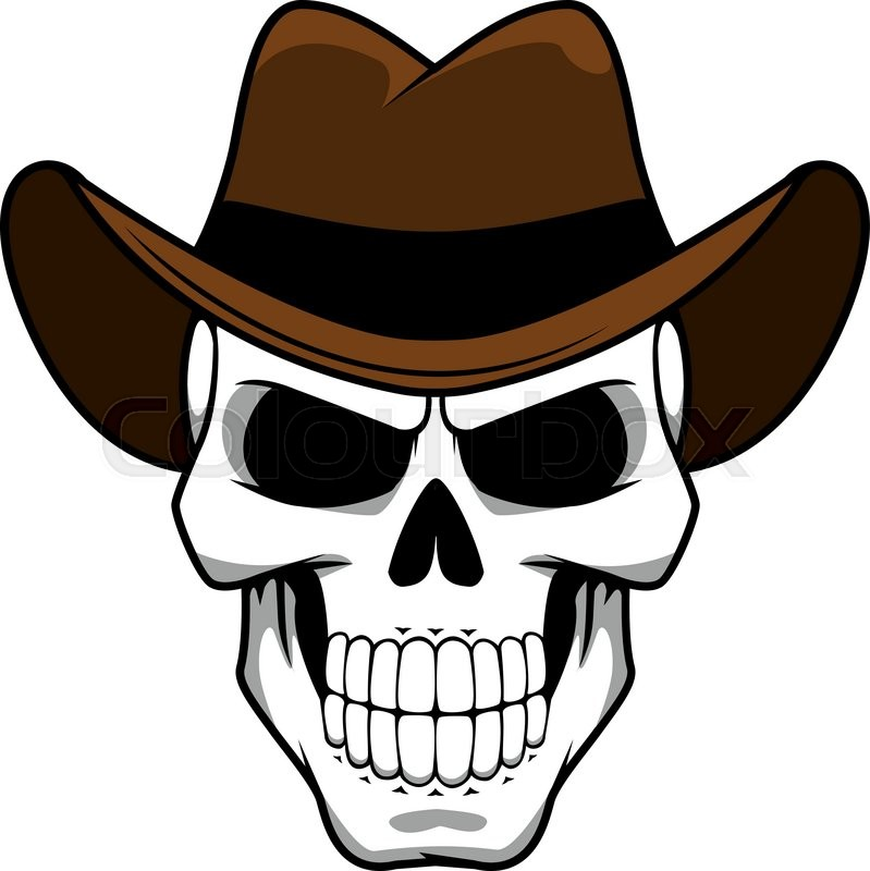799x800 Spooky Cowboy Skull Character With Classic Brown Felt Hat In
