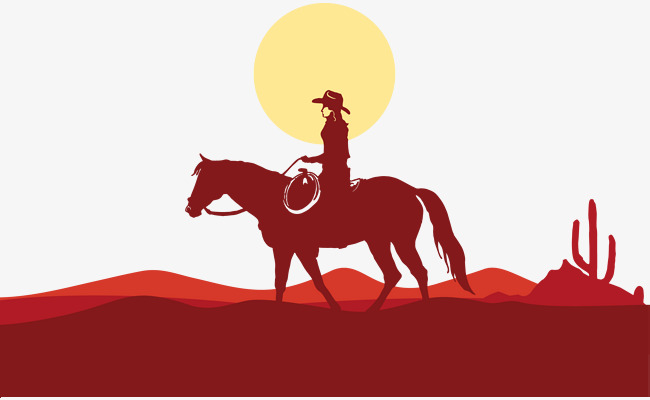 650x400 Cowboy Road Vector, Cowboy Vector, Road Vector, Silhouette Png And