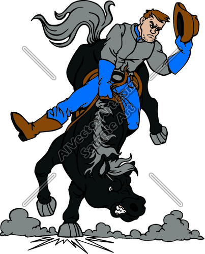 403x500 Cowboy Rodeo Riding A Angry Horse Clipart And Vectorart Sports