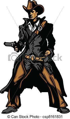 277x470 Cowboy Mascot Aiming Gun Vector Ill. Graphic Mascot Vector Image
