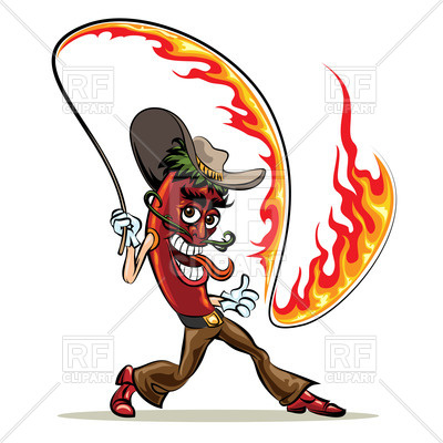400x400 Cartoon Red Hot Chili Pepper In Cowboy Clothes With A Lash Of Fire