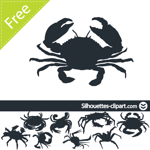 500x500 Crab Vector Silhouette By Silhouettes Clipart