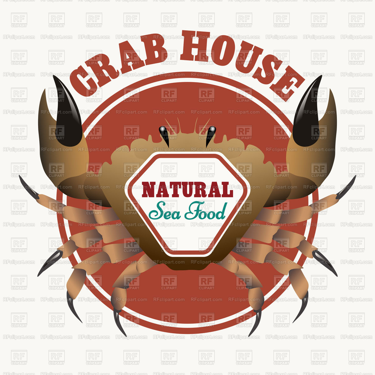 1200x1200 Sea Food Emblem With Crab Vector Image Vector Artwork Of Food