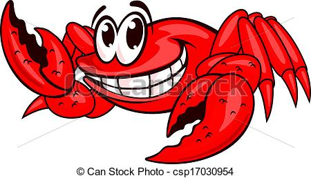 450x258 Smiling Red Crab. Smiling Red Sea Crab With Claws. Vector