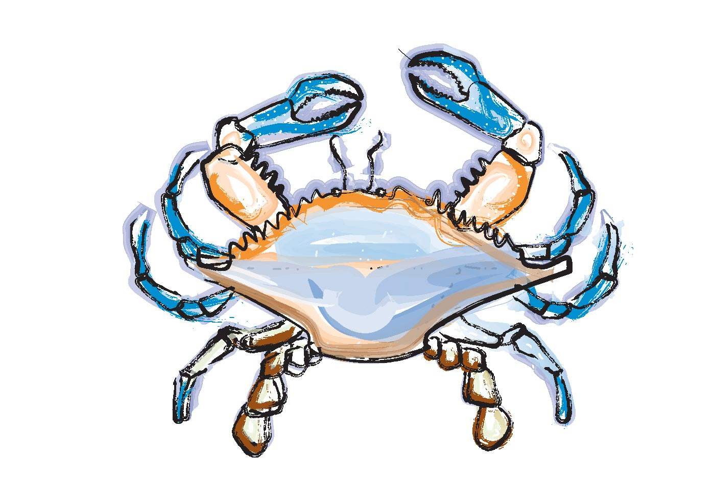 1400x980 Blue Crab Free Vector Art