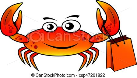 450x257 Character Shoping Crab Vector Illustration. Character Crab Shoping