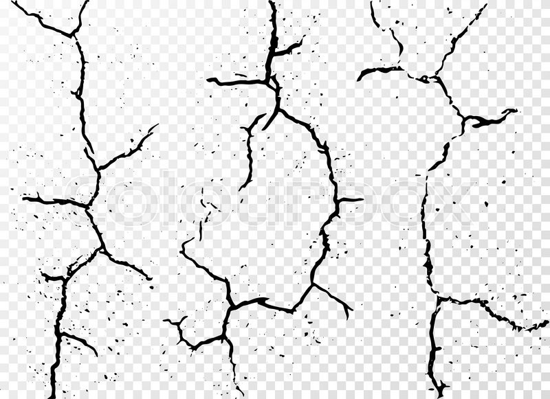 800x581 Set Of Vertical Realistic Wall Cracks Isolated On White