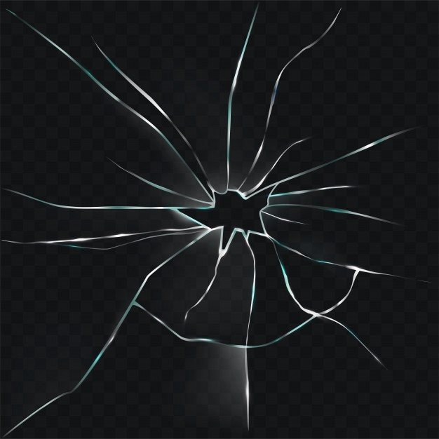 626x626 Vector Illustration Of A Broken, Cracked, Cracked Glass With A