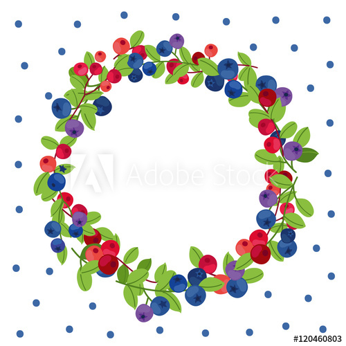 500x500 Blueberry And Cranberry Vector Wreath
