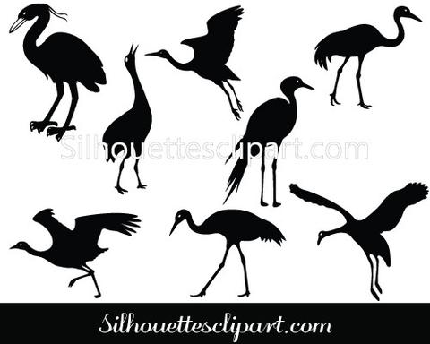 480x384 Crane Silhouette Vector Graphics Pack Download Silhouettes Vector