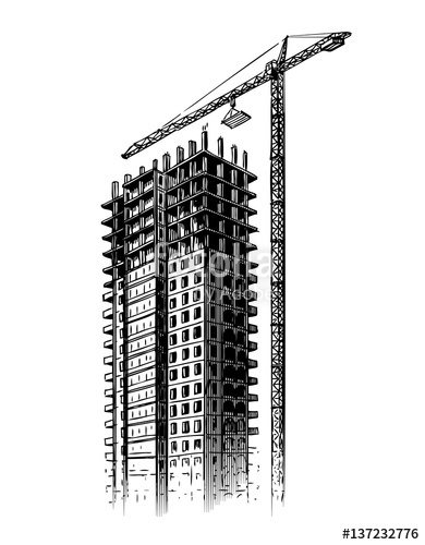 390x500 Construction Site With Crane, Vector Illustration. Hand Drawn